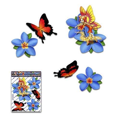 Fée frangipani plumeria bleu fleur / papillon autocollants pour animaux - ST00062BL_SML - JAS Stickers