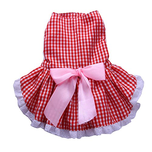 MonkeyJack Pet Dog Puppy Bowknot Dress Classic Skirt Party Costume Princess Clothes Outfits M - Peach-red tartan skirt, (Princess Peach Dog Costumes)