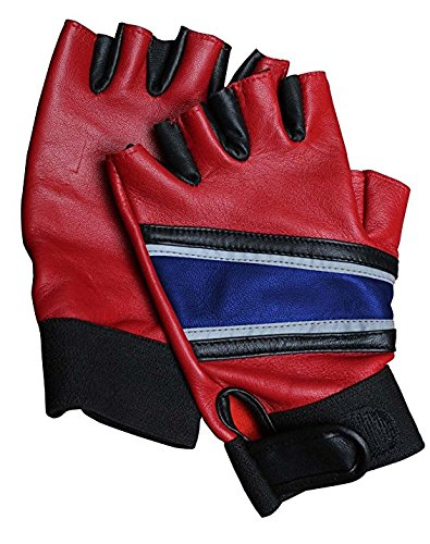 Harley Quinn Costume Real Leather Gloves - Womens Red & Blue Gloves By Max (XL)