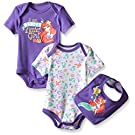 Disney Baby Little Mermaid 2 Pack Bodysuit with Bib, Multi/Purple ( Mermaid ) , 3/6 Months