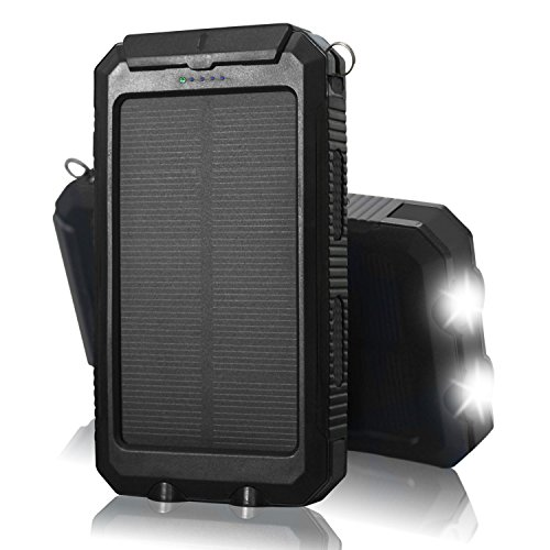 Solar Charger Solar Power Bank QueenAcc 10000mAh Solar Phone Charger Water/Shock/Dust proof with LED Flashlight Dual USB Port Battery Charger for Portable for Smart phone and Other USB Devices.(Black)