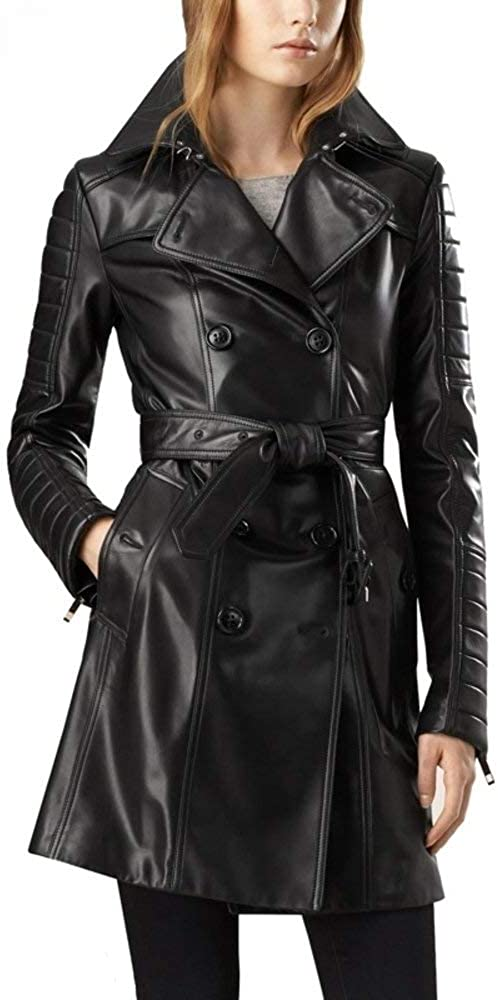Small to Plus Size Leather Lust Black Trench Leather Long Coat with Belt Trench Coats Long Overcoat