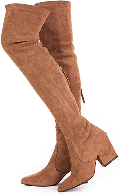 Amazon.com | N.N.G Women Boots Winter Over Knee Long Boots Fashion Boots Heels Autumn Quality Suede Comfort Square Heels US Size | Over-the-Knee