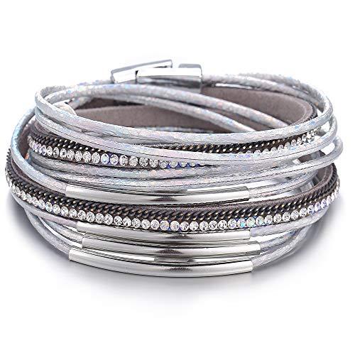 17mile Silver Multilayer Leather Wrap Bracelet Handmade Crystal Cuff Bangle Alloy Magnet Buckle Bracelets for Women,Girls Gift