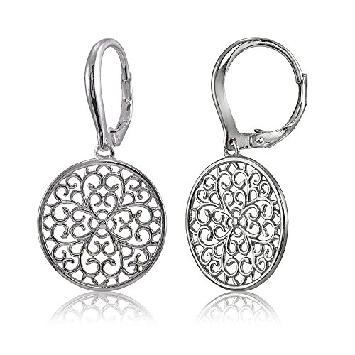 Sterling Silver High Polished Medallion Filigree Leverback Earrings