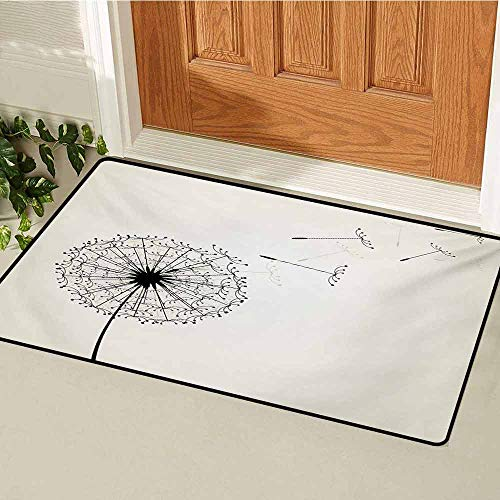 Dandelion Welcome Door mat Flying Flower Seeds and Blossom Fragility and Growth Inspired by Nature Door mat is odorless and Durable W47.2 x L60 Inch Black and Beige
