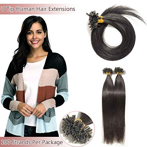 U Tip/Nail Tip Remy Human Hair Extensions 100 Strands Per Package Pre Bonded Italian Keratin Fushion Hairpiece Long Straight Silky For Women #1B Natural Black 20 inches 50g