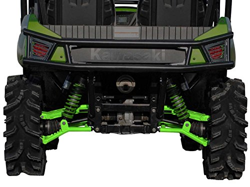 SuperATV High Clearance Offset Rear A-Arms for Kawasaki Teryx/Teryx 4 (See Fitment) - Green (Steering Wheel Kawasaki Teryx)