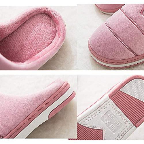 Baskets Oudan Gris D'hiver Antidérapantes Pour Chaudes Coton Rose Femmes 42 Violet 35 Pantoufles coloré Ménage 34 43 De Taille rrqdwv14