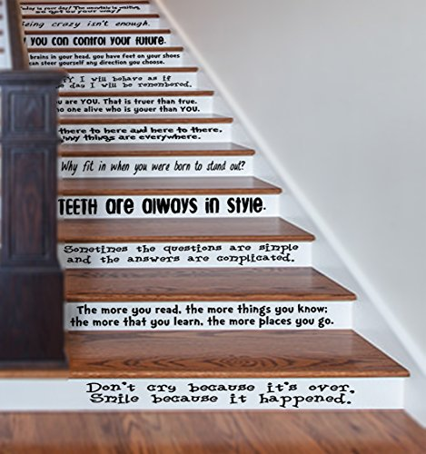 "GMDdecals Dr Seuss Inspired Quote Assorted Set Vinyl Stair or Wall Decal [Black] 24"" Wide by 2-4"" Tall per Quote Lorax Cat in The Hat Storybook Decor"
