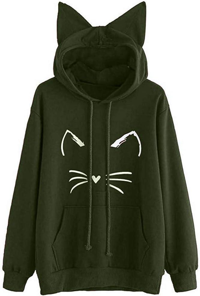 Womens Cat Ear Solid Long Sleeve Hoodie Sweatshirt Hooded Pullover Tops Blouse