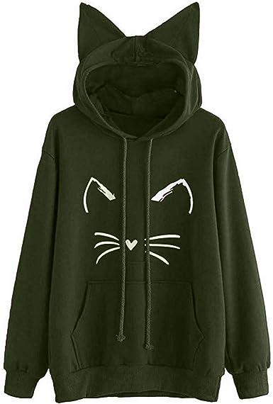 FACAIAFALO Womens Long Sleeve Loose Kangaroo Pockets Cute Cat Ear Pullover Hoodie Sweatshirt