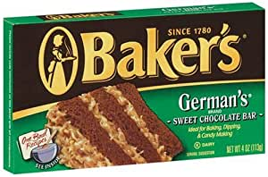 Baker's German Chocolate, 4-Ounce Bars (Pack of 4)