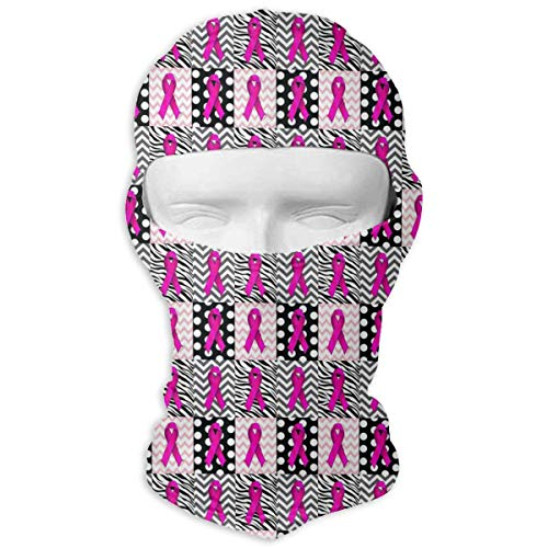 Queendesign Pink Leopard Breast Cancer Awareness Balaclava Full Face Mask Motorcycle Helmet Liner Breathable Multipurpose Outdoor Sports Wind Proof Dust Head Hood