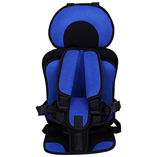 Breathable Adjustable Children Car Seat Cushion Comfortable Thickening Car Seat Protector Cover Cushion Pad Pillow Neck Support Cushion Pad and Seatbelt (Blue)