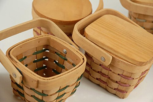 Wayfair Tiny 3.5 Inch Chipwood Picnic Baskets - Crafts Country Mini Baskets