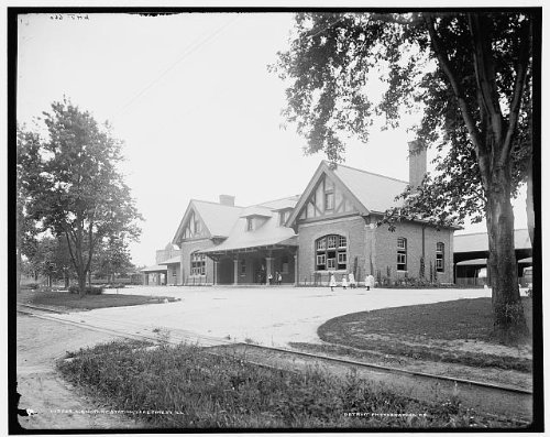 Photo: Chicago & North Western Railway station, C & NW, Lake Forest, Illinois, IL, c1900 . Size: 8x1