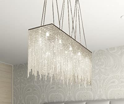 """10 Light Modern / Contemporary Dining Room Chandelier Rectangular Chandeliers Lighting Dressed With Crystal! 28"""" x 36"""""""