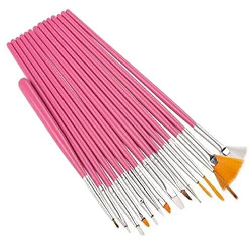 15PCS Design Painting Pen Nail Art Brush Set for Salon Manicure DIY Tools (Pink) - 1