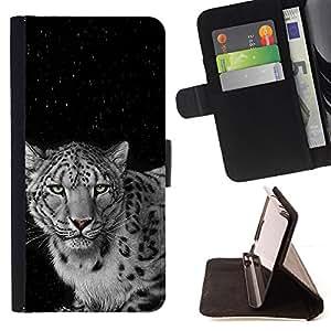 BullDog Case - FOR/Samsung Galaxy Note 3 III / - / angry feline leopard black white spots /- Monedero de cuero de la PU Llevar cubierta de la caja con el ID Credit Card Slots Flip funda de cuer
