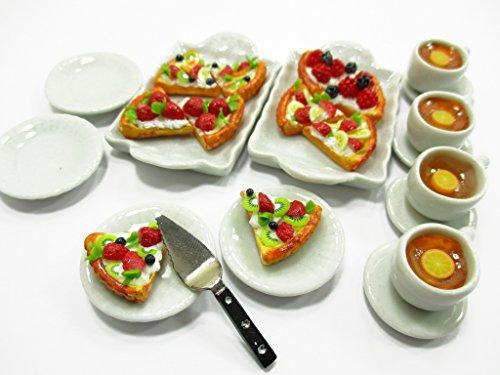 Dollhouse Miniatures Food Slice Cake Fruit Tart On Ceramic Plate Tea Set 14307