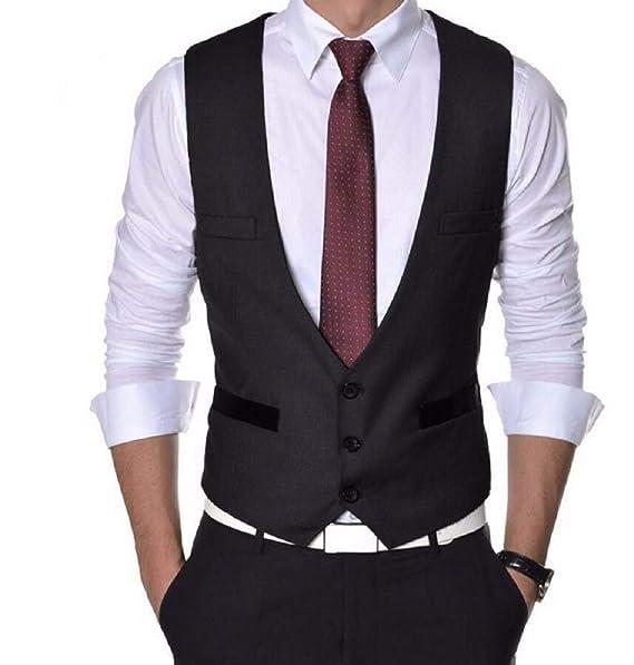 Menjestic Men's in Blue and Black Macho Styling Waistcoat Range Men's Suits & Blazers at amazon