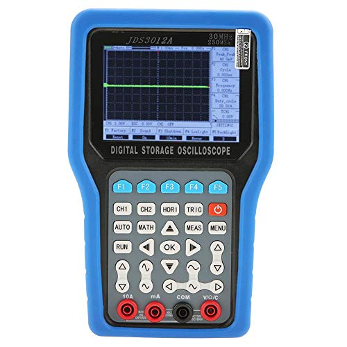 (Digital Oscilloscope, JDS3012A Handheld 250MSa/S 30MHz 2CH Digital Oscilloscope with 6000 Multimeter AC100-240V Support for Firmware Program Upgrade Via USB(US Plug))