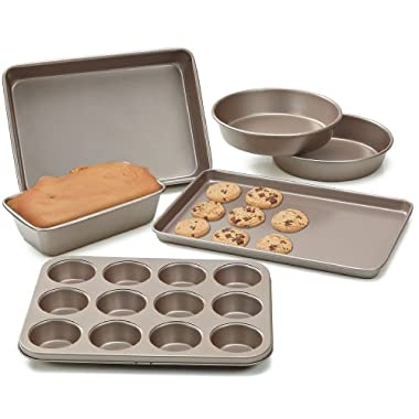 Cook N Home NC-00377 6-Piece Heavy Gauge Non-Stick Bakeware, Bronze