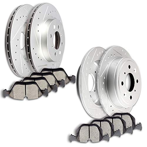 SCITOO Brakes and Rotors Kit, 4pcs Slotted Brake Rotors and 8pcs Disc Brake Pads fit for 1994 1995 Honda Civic LX Sedan,1999 2000 Honda Civic Si Coupe