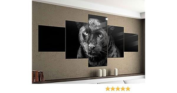 Foto en Lienzo 5 Piezas 200cmx100cm Puma Negro Pantera Jaguar Animal Negro Blanco Imágenes Impresión en Lienzo Imagen Impresa Artística de Varias Partes Madera 9YA1402-5Tlg 200x100cm: Amazon.es: Hogar