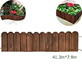 Creation Core Flexible Solid Wood Garden Edging Tree Plant Flower Picket Border Fence Decorative Lawn Divider, 41.3inx7.9in