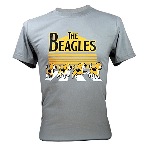 - Immortal Tee Adult Unisex The Beatles Beagles Funny T-Shirts Grey Large