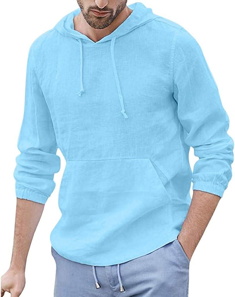 Mens Hoodies Casual Breathable Linen Long Sleeve Kangaroo Pocket Hooded Pullover by URIBAKE