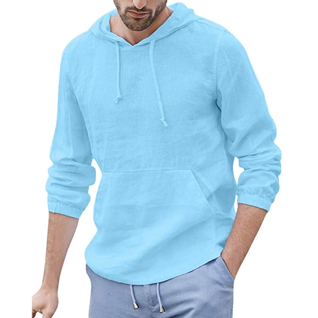 ZOMUSAR Men's Baggy Cotton Linen Hooded Pocket Solid Long Sleeve Retro T Shirts Tops Mens Tank Tops Blue by ZOMUSAR
