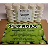 Soy Tealight Candles - 25 Unscented Clear Cup Candles With 6 To 8 Hour Burn Time