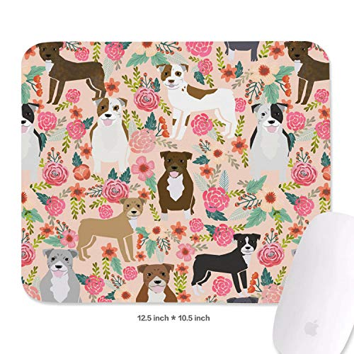 (Family Game Office Mouse Pad Pitbull Terriers Dog Florals Custom Comfortable Non-Slip Rubber Rectangular Wrist Rest Pad)