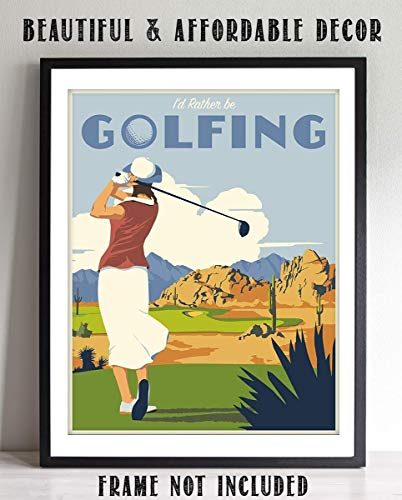 Woman Golfer On The Tee- Vintage Sign Print- 8 x10