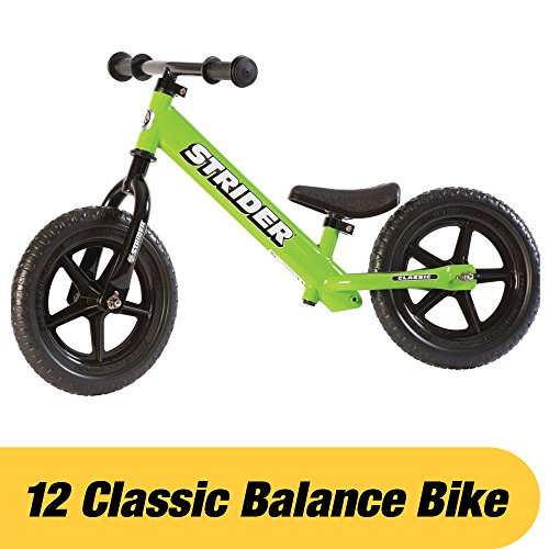 Strider 12 Classic No-Pedal Balance Bike, Ages 18 Months to 3 Years, Green