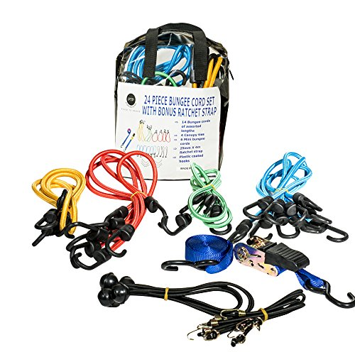 Heavy-Duty-Bungee-Cord-Tie-Downs-25-Piece-Set-Tarp-Tie-Downs-BONUS-Ratchet-Straps-Storage-Bag-Truck-Luggage-Cargo-Motorcycle-Bike-100-Quality-Guarantee