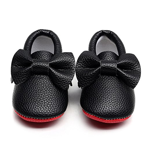 HONGTEYA Red Bottoms Shoes- PU Leather Newborn Baby Shoes Girl Boy Moccasins Bebe Fringe Soft Red Soled Non-Slip Crib Shoe (10.5cm 0-3 Months 4.13inch, Bow-Black)