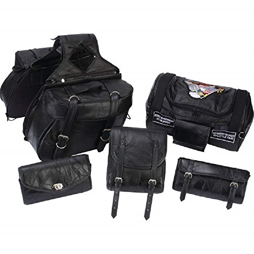 (Diamond Plate 6 Piece Rock Design Genuine Buffalo Leather Motorcycle Luggage Set)