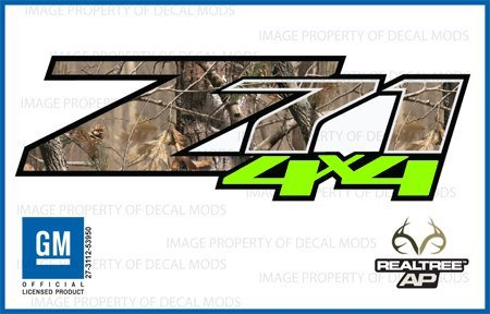 Chevy Silverado RealTree AP VIBRANT GREEN Z71 4x4 decals stickers - VGAP (2007-2013) bed side 1500 2500 HD (set of 2)