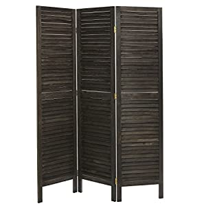 Rustic Dark Brown Wood Louvered Panels Freestanding 3 Partition Folding Room Divider / Privacy Screen