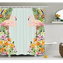 Floral Decor Shower Curtain by Ambesonne, Flamingos Tropical Flowers and Flamingos Decorations for Home Print, Fabric Bathroom Decor Set with Hooks, 70 Inches, Baby Blue and Orange