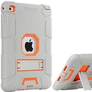 iPad Mini 4 Case,iPad Mini 4 Retina Case,BENTOBEN 3 IN 1 Hybrid [Soft&Hard] Heavy Duty Rugged Stand Cover Shockproof Anti-slip Anti-Scratch Full-body Protective Case for iPad Mini 4, Grey/Orange