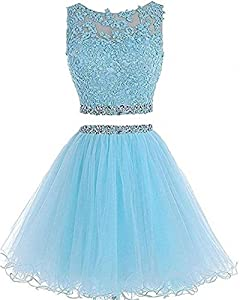 Dydsz Women's Short Prom Dress Homecoming Party Dresses 2 Piece Beaded Gown D127