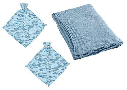 Chenille Blanket Bundle (Blue Tiger Baby Lovey and Nursery Blanket Bundle)
