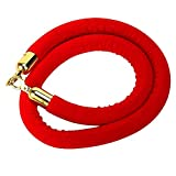 5-Feet Red Barrier Rope Crowd Control Stanchion Queue Line Velvet Rope with Gold Plated Hooks, 60-Inch