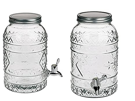 Dispensador de vidrio en estilo Tiki Hawaii transparente transparente de 3,5 litros con dispensador