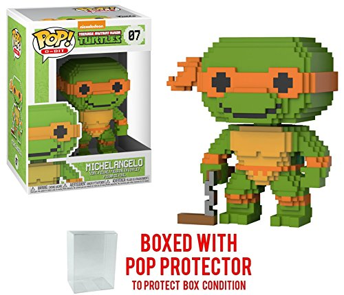 Funko 8-Bit Pop! Teenage Mutant Ninja Turtles - Michelangelo Vinyl Figure (Bundled with Pop BOX PROTECTOR CASE) ()